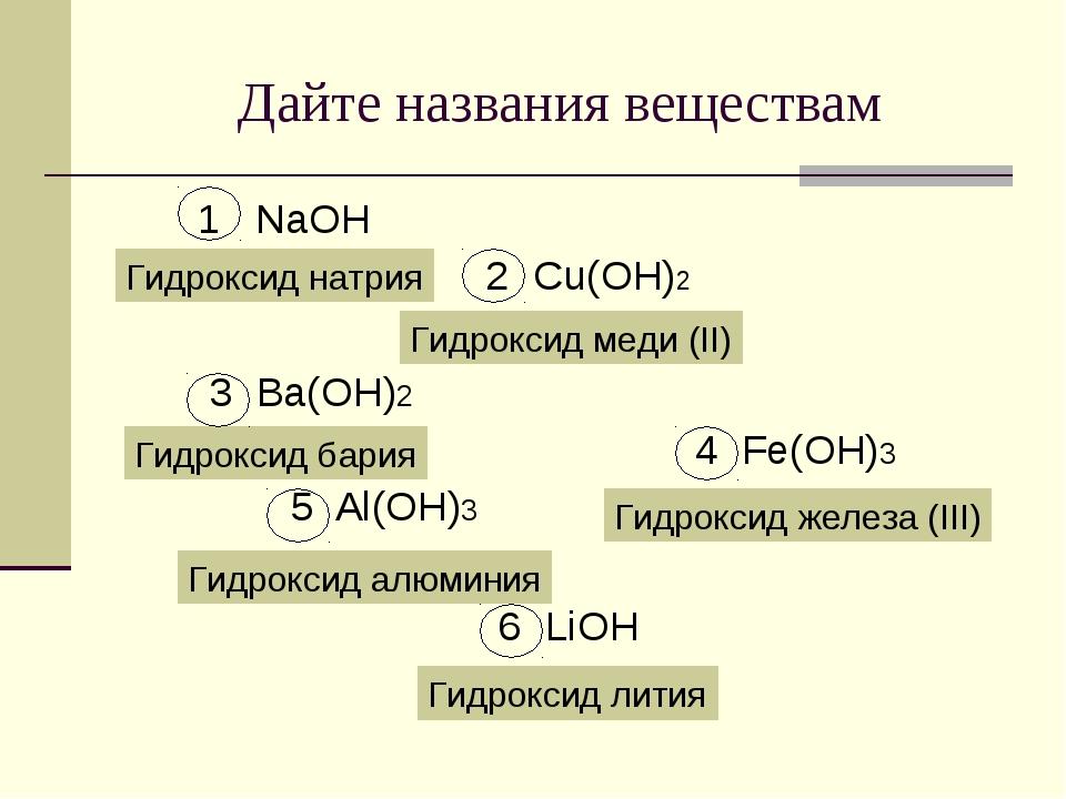 Дайте названия веществам 1 NaOH 2 Cu(OH)2 3 Ba(OH)2 4 Fe(OH)3 5 Al(OH)3 6 LiO...
