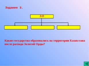 Задание 3. Какие государства образовались на территории Казахстана после расп