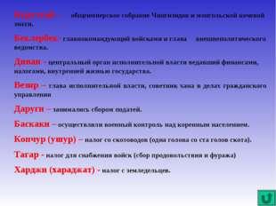 Курултай – общеимперское собрание Чингизидов и монгольской кочевой знати. Бек