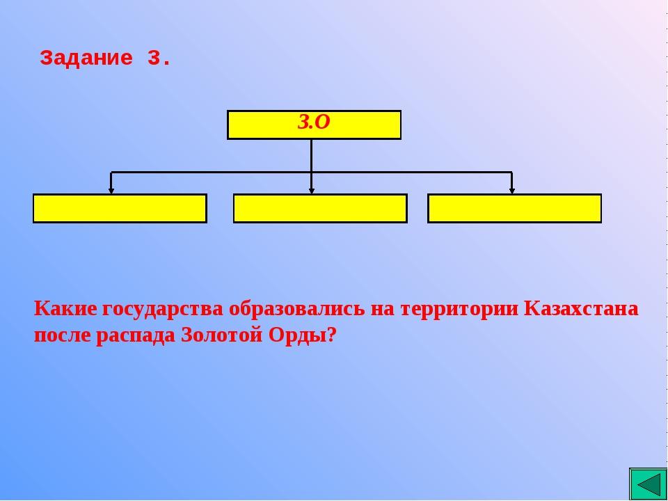 Задание 3. Какие государства образовались на территории Казахстана после расп...