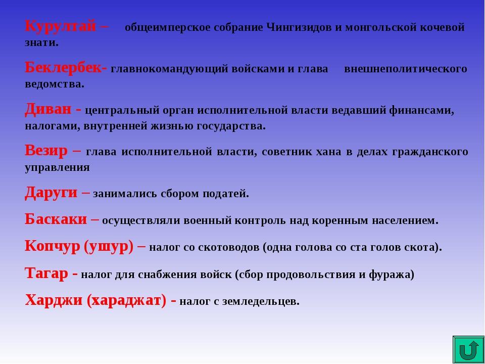Курултай – общеимперское собрание Чингизидов и монгольской кочевой знати. Бек...