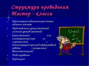 Структура проведения Мастер - класса Презентация педагогического опыта педаго