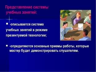 Представление системы учебных занятий: -описывается система учебных занятий в