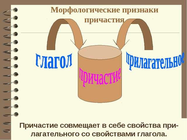 Морфологические признаки причастия Причастие совмещает в себе свойства при- л...