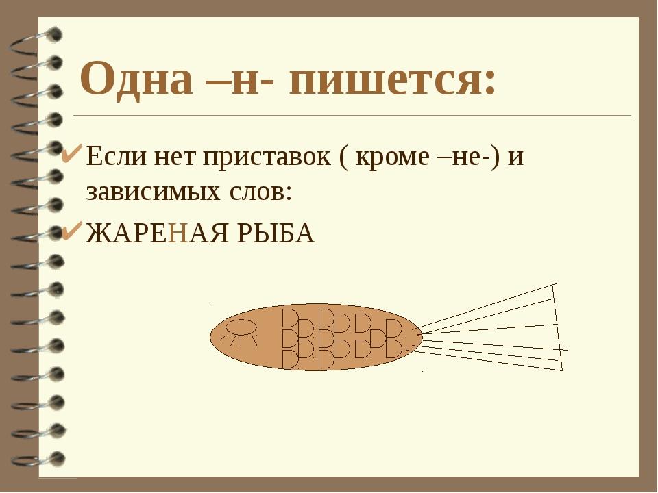 Одна –н- пишется: Если нет приставок ( кроме –не-) и зависимых слов: ЖАРЕНАЯ...