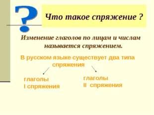 Что такое спряжение ? Изменение глаголов по лицам и числам называется спряжен
