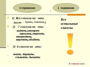 1) Все глаголы на -ить: (кроме - ) 2) 7 глаголов на -еть: 3) 4 глагола на -а