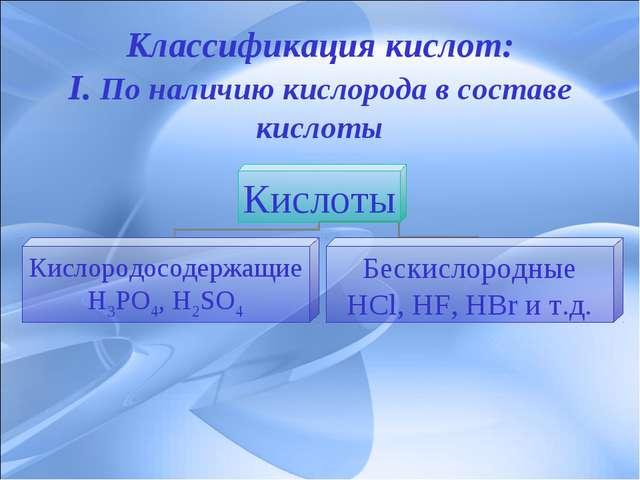 Классификация кислот: I. По наличию кислорода в составе кислоты