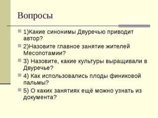 Вопросы 1)Какие синонимы Двуречью приводит автор? 2)Назовите главное занятие