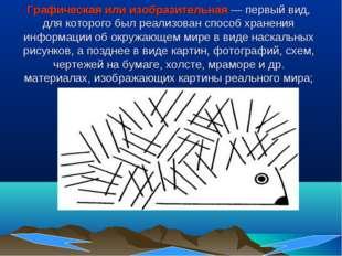 Графическая или изобразительная— первый вид, для которого был реализован спо
