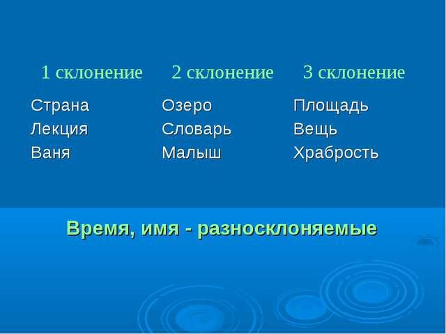 Время, имя - разносклоняемые 1 склонение2 склонение3 склонение Страна Лекци...