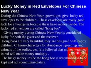 Lucky Money in Red Envelopes For Chinese New Year During the Chinese New Year