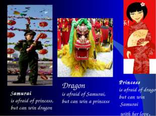 Samurai is afraid of princess, but can win dragon Dragon is afraid of Samurai