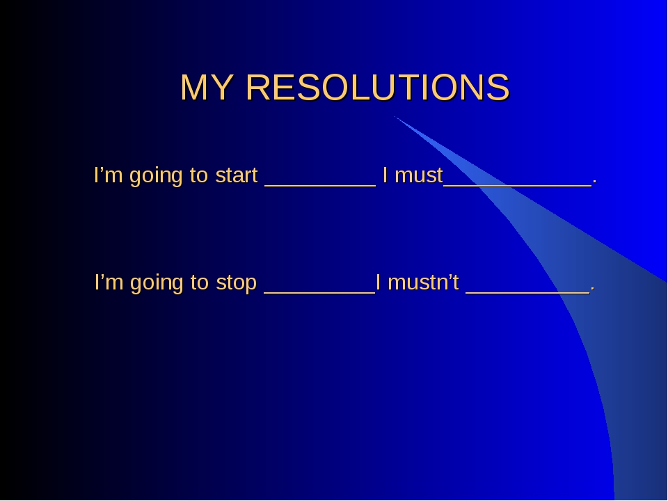MY RESOLUTIONS I'm going to start _________ I must____________. I'm going to...