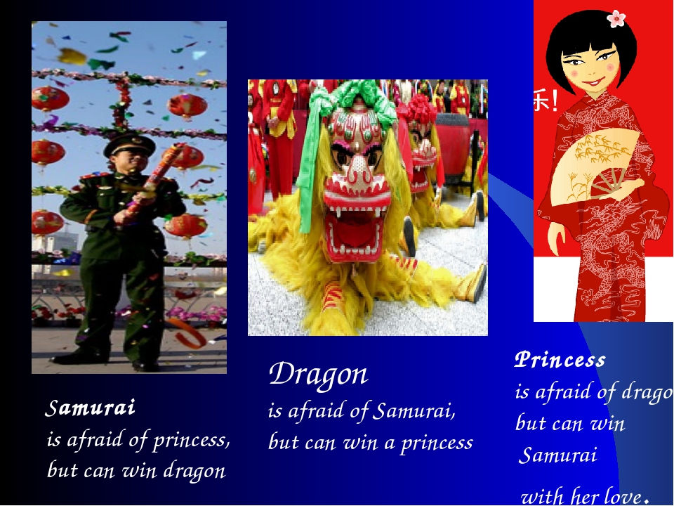 Samurai is afraid of princess, but can win dragon Dragon is afraid of Samurai...