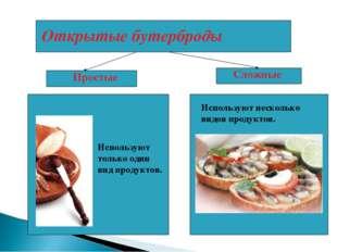 Открытые бутерброды Используют несколько видов продуктов. Сложные Простые Исп