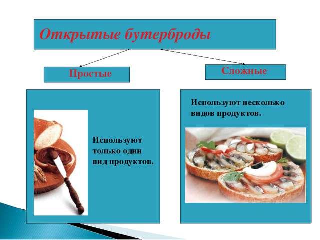 Открытые бутерброды Используют несколько видов продуктов. Сложные Простые Исп...