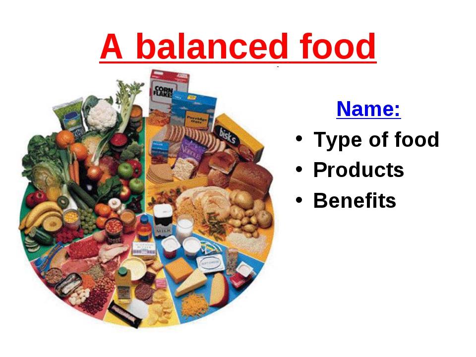 А balanced food Name: Type of food Products Benefits