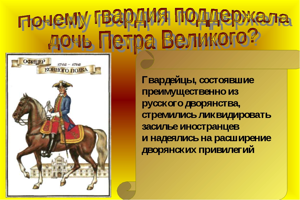 Гвардейцы, состоявшие преимущественно из русского дворянства, стремились лик...