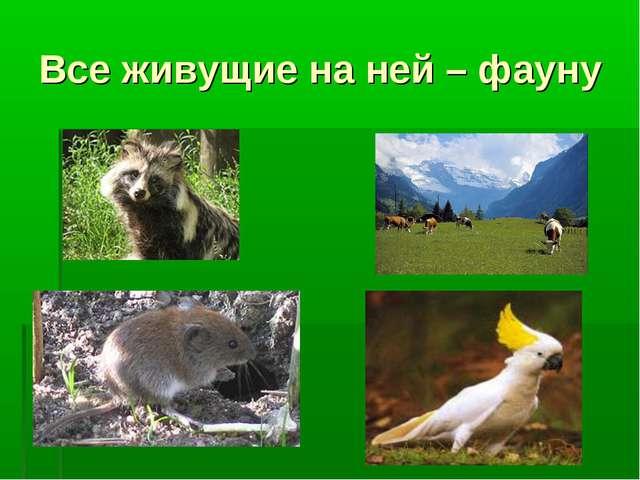 Все живущие на ней – фауну