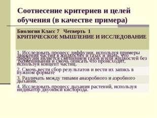 Соотнесение критериев и целей обучения (в качестве примера) Биология Класс 7