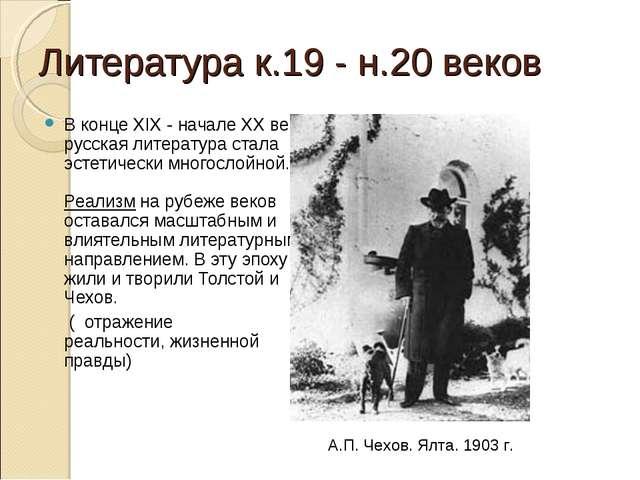 Литература к.19 - н.20 веков В конце XIX - начале XX века русская литература...
