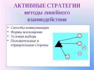 АКТИВНЫЕ СТРАТЕГИИ методы линейного взаимодействия Способы коммуникации Формы