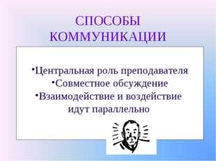 СПОСОБЫ КОММУНИКАЦИИ Центральная роль преподавателя Совместное обсуждение Вза