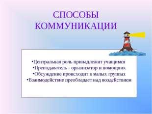 СПОСОБЫ КОММУНИКАЦИИ Центральная роль принадлежит учащимся Преподаватель - ор