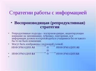 Стратегии работы с информацией Воспроизводящая (репродуктивная) стратегия Реп