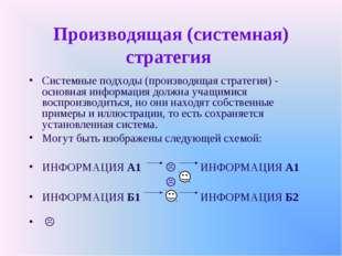 Производящая (системная) стратегия Системные подходы (производящая стратегия)
