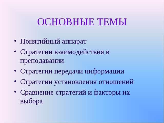 ОСНОВНЫЕ ТЕМЫ Понятийный аппарат Стратегии взаимодействия в преподавании Стра...