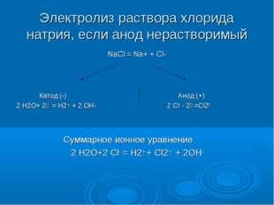 Электролиз раствора хлорида натрия, если анод нерастворимый NaCl = Na+ + Cl-