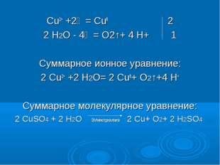 Cu2+ +2ẽ = Cu0 2 2 Н2О - 4ẽ = O2↑+ 4 H+ 1 Суммарное ионное уравнение: 2 Cu2+