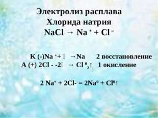 Электролиз расплава Хлорида натрия NaCl → Na + + Cl – K (-)Na ++ ẽ →Na 2 вос
