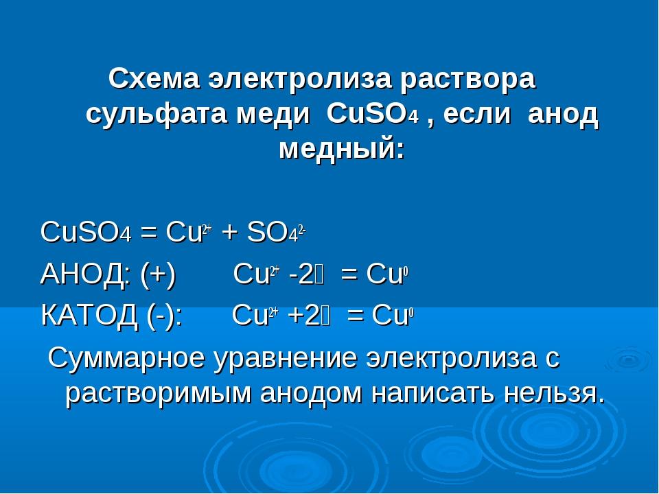 Схема электролиза раствора сульфата меди CuSO4 , если анод медный: CuSO4 = Cu...