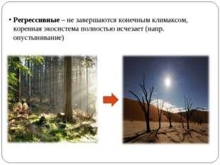 Регрессивные – не завершаются конечным климаксом, коренная экосистема полност