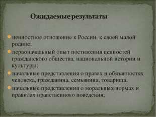 ценностное отношение к России, к своей малой родине; первоначальный опыт пост