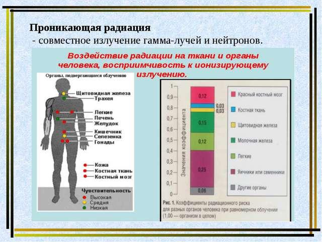 Проникающая радиация - совместное излучение гамма-лучей и нейтронов.