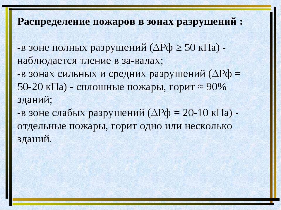 Распределение пожаров в зонах разрушений : -в зоне полных разрушений (ΔРф ≥ 5...