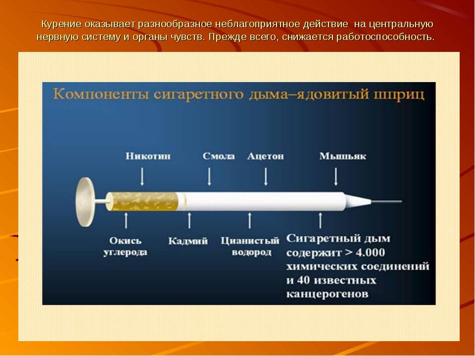 Курение оказывает разнообразное неблагоприятное действие на центральную нервн...