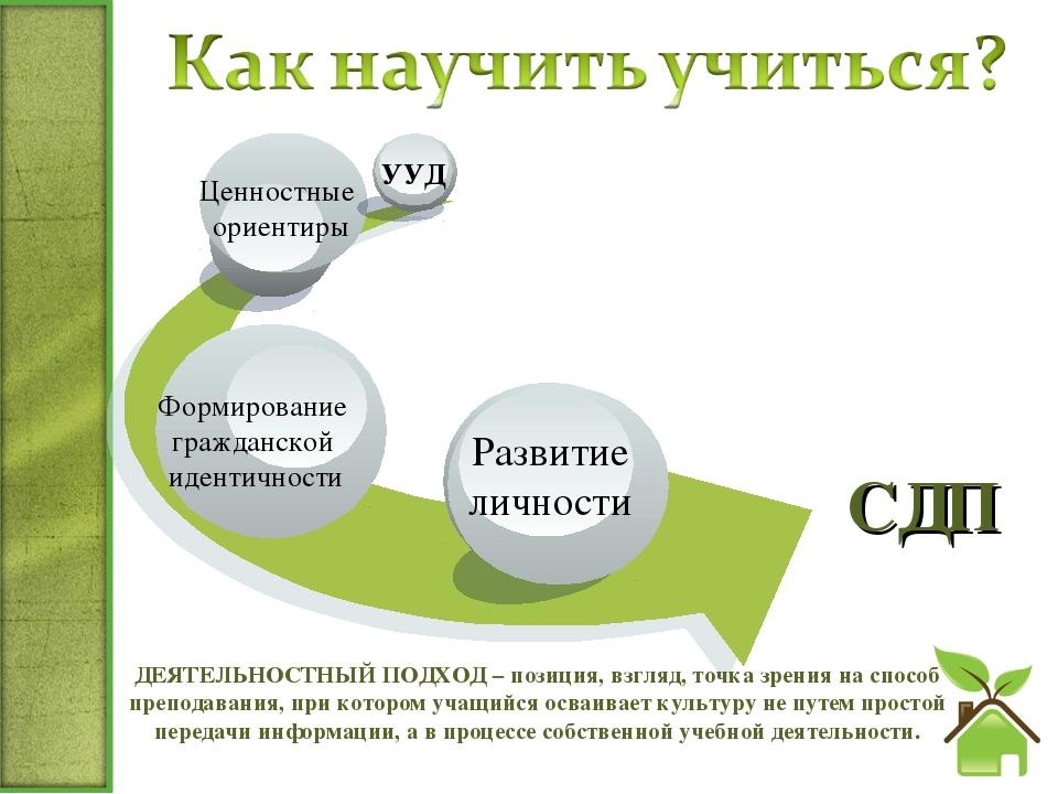 СДП ДЕЯТЕЛЬНОСТНЫЙ ПОДХОД − позиция, взгляд, точка зрения на способ преподав...
