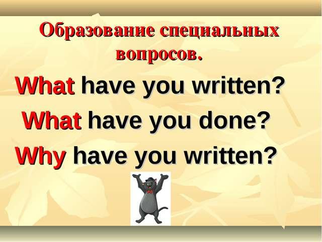 Образование специальных вопросов. What have you written? What have you done?...