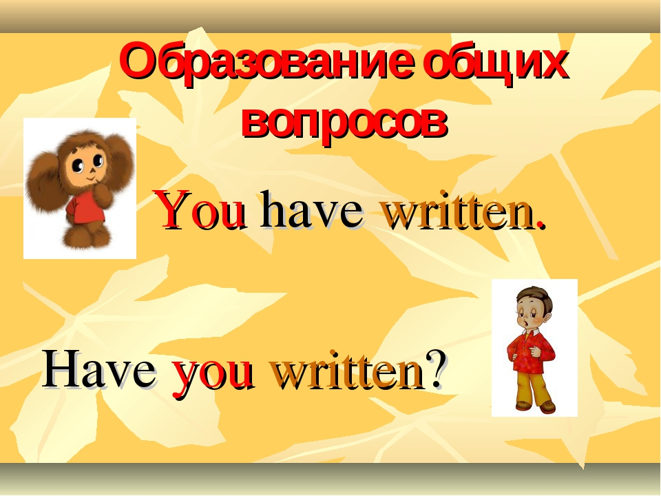 Образование общих вопросов You have written. Have you written?