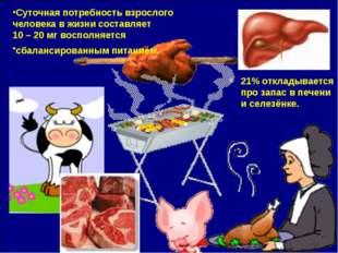 21% откладывается про запас в печени и селезёнке. Суточная потребность взросл
