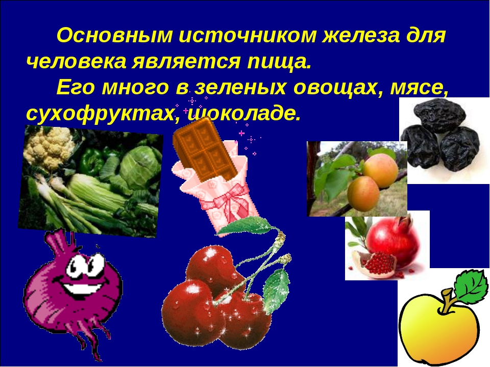Основным источником железа для человека является пища. Его много в зеленых о...