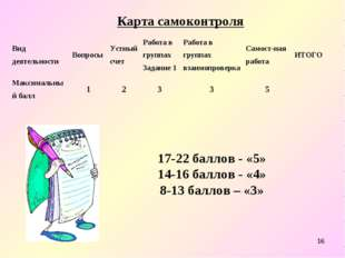 * 17-22 баллов - «5» 14-16 баллов - «4» 8-13 баллов – «3» Карта самоконтроля