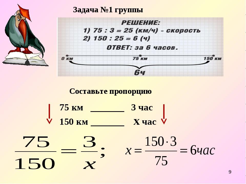 * Задача №1 группы Составьте пропорцию 75 км _______ 3 час 150 км _______ х час
