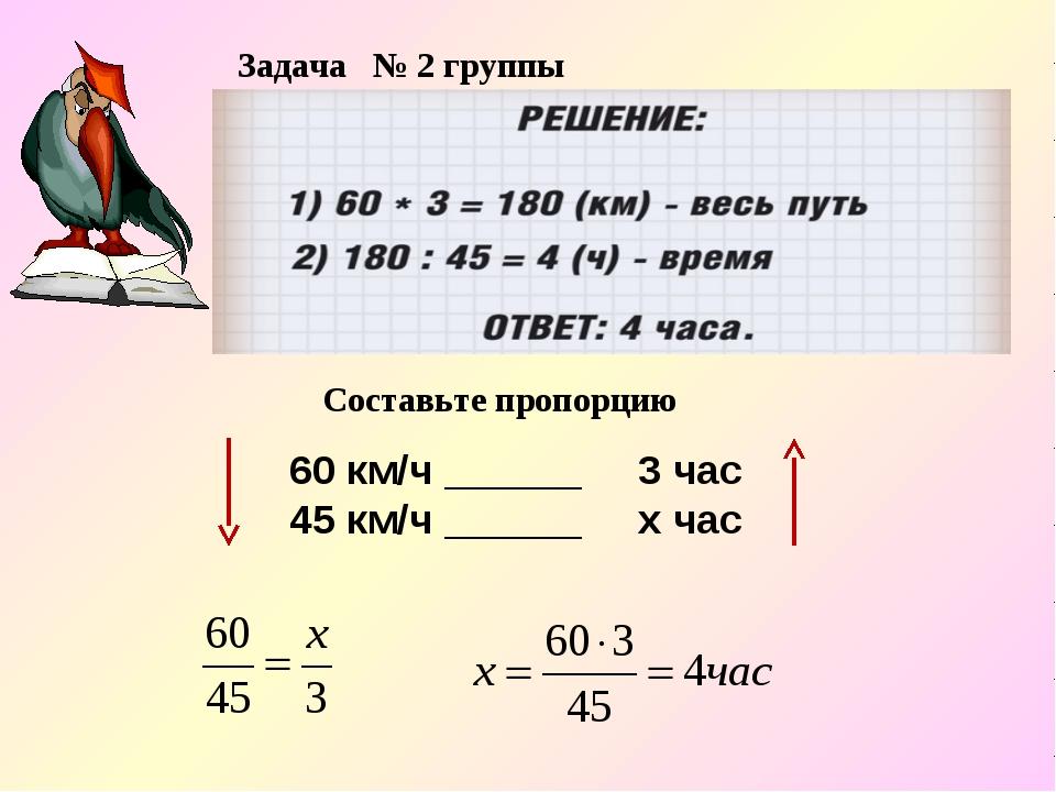 Задача № 2 группы 60 км/ч ______ 3 час 45 км/ч ______ х час Составьте пропорцию
