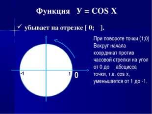 Функция У = COS X убывает на отрезке [ 0; π]. При повороте точки (1;0) Вокруг